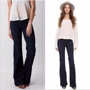 Free People Flare Wide Leg Stretch Dark Jeans, 24